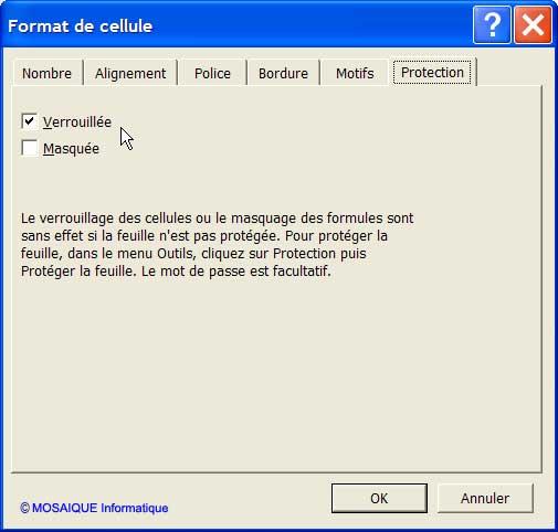 La boîte de dialogue Format de cellules - Excel - MOSAIQUE Informatique - 54 - Nancy - Meurthe et Moselle - Lorraine