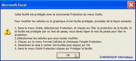 Cours / Tuto Excel - Protection des cellules - MOSAIQUE Informatique - 54 - Nancy - Meurthe et Moselle - Lorraine