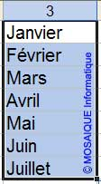 La recopie incrémentée fonctionne également avec des mois - Excel - MOSAIQUE Informatique - 54 - Nancy - Meurthe et Moselle - Lorraine