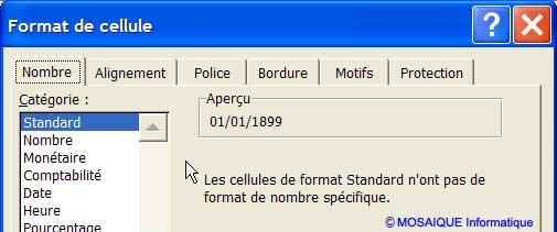 La boîte de dialogue Format de cellule, affichant les paramètres de format de la seconde date - Excel - MOSAIQUE Informatique - Création de sites Internet - 54 - Nancy - Meurthe et Moselle - Lorraine