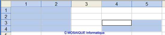 La plage de cellules sélectionnée ici est L1C1:L4C2;L3C4:L4C5 - Excel - MOSAIQUE Informatique - 54 - Nancy - Meurthe et Moselle - Lorraine