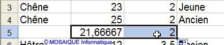 La formule est recopiée vers la droite - Excel - MOSAIQUE Informatique - 54 - Nancy - Meurthe et Moselle - Lorraine