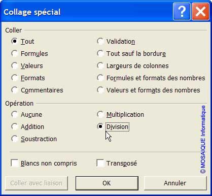 La boîte de dialogue Collage spécial - Excel - MOSAIQUE Informatique - Formations informatiques et création de sites web - 54 - Nancy - Meurthe et Moselle - Lorraine