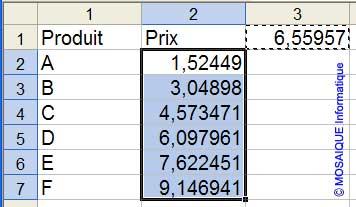 Les données sont converties en euros - Excel - MOSAIQUE Informatique - Formations informatiques et création de sites web - 54 - Nancy - Meurthe et Moselle - Lorraine