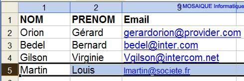 L'enregistrement a été ajouté - Excel - MOSAIQUE Informatique - Formations informatiques et création de sites web - 54 - Nancy - Meurthe et Moselle - Lorraine