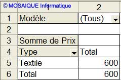 Le filtre est appliqué sur les textiles - Excel - MOSAIQUE Informatique - Formations informatiques et création de sites web - 54 - Nancy - Meurthe et Moselle - Lorraine