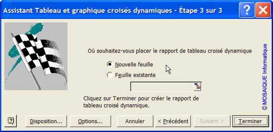 La boîte de dialogue Assistant Tableau et graphique croisés dynamiques - Etape 3 sur 3 - Excel - MOSAIQUE Informatique - Formations informatiques et création de sites web - 54 - Nancy - Meurthe et Moselle - Lorraine