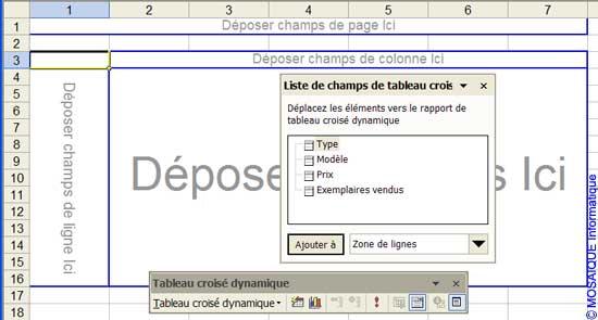 Le tableau croisé dynamique - Excel - MOSAIQUE Informatique - Formations informatiques et création de sites web - 54 - Nancy - Meurthe et Moselle - Lorraine