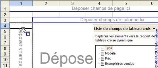 Le champ est glissé dans la colonne du tableau croisé dynamique - Excel - MOSAIQUE Informatique - Formations informatiques et création de sites web - 54 - Nancy - Meurthe et Moselle - Lorraine