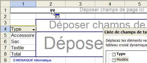 Un second champ est glissé dans le tableau croisé dynamique - Excel - MOSAIQUE Informatique - Formations informatiques et création de sites web - 54 - Nancy - Meurthe et Moselle - Lorraine