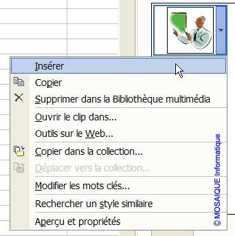 L'insertion du clipart - Excel - MOSAIQUE Informatique - Formations informatiques et création de sites internet - 54 - Nancy - Meurthe et Moselle - Lorraine