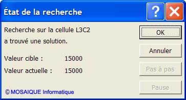 La boîte de dialogue Etat de la recherche - Excel - MOSAIQUE Informatique - Formations informatiques et création de sites web - 54 - Nancy - Meurthe et Moselle - Lorraine