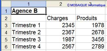 Les données à saisir dans la seconde feuille - Excel - MOSAIQUE Informatique - Formations informatiques et création de sites web - 54 - Nancy - Meurthe et Moselle - Lorraine