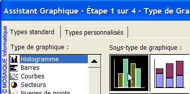 Le choix du type de graphique - Excel - MOSAIQUE Informatique - Formations informatiques et création de sites web - 54 - Nancy - Meurthe et Moselle - Lorraine