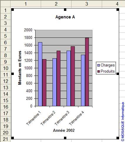 Le graphique est redimensionné - Excel - MOSAIQUE Informatique - Formations informatiques et création de sites web - 54 - Nancy - Meurthe et Moselle - Lorraine