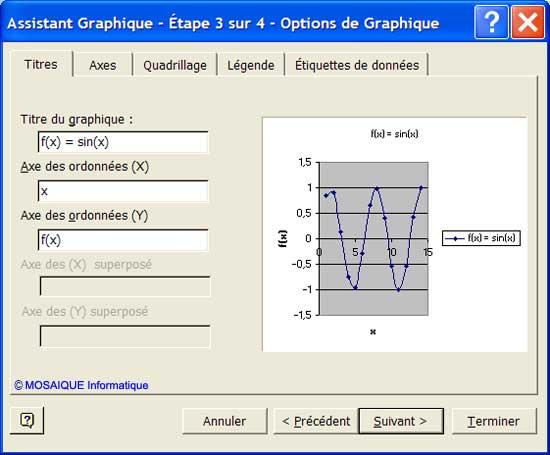 L'étape 3 de l'Assistant graphique - Excel - MOSAIQUE Informatique - Formations informatiques et création de sites web - 54 - Nancy - Meurthe et Moselle - Lorraine