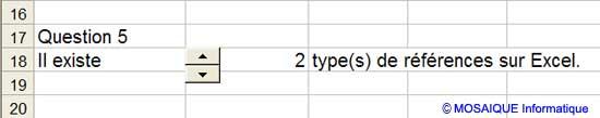 Le résultat obtenu dans la feuille Quiz - Excel - MOSAIQUE Informatique - Formations informatiques et bureautiques, création de sites web - 54 - Nancy - Meurthe et Moselle - Lorraine