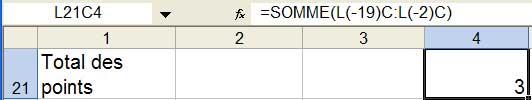 Le calcul du total des points - Excel - MOSAIQUE Informatique - Formations informatiques et bureautiques, création de sites web - 54 - Nancy - Meurthe et Moselle - Lorraine