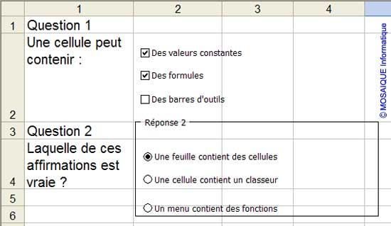Des boutons d'options sont ajoutés - Excel - MOSAIQUE Informatique - Formations informatiques et bureautiques, création de sites web - 54 - Nancy - Meurthe et Moselle - Lorraine