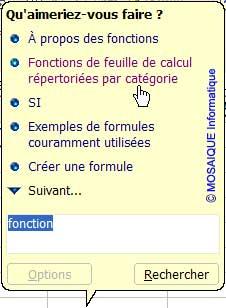 La zone de recherche du Compagnon Office - Excel - MOSAIQUE Informatique - Création de sites Internet - 54 - Nancy - www.mosaiqueinformatique.fr