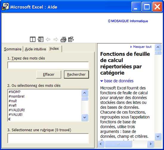 L'aide d'Excel - Excel - MOSAIQUE Informatique - Création de sites Internet - 54 - Nancy - www.mosaiqueinformatique.fr