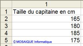 Les valeurs à saisir - Excel - MOSAIQUE Informatique - Création de sites web - 54 - Nancy - www.mosaiqueinformatique.fr