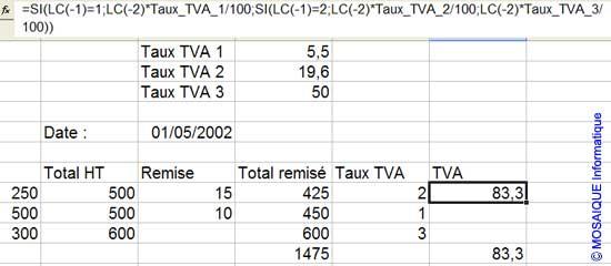 La saisie de la formule - Excel - MOSAIQUE Informatique - Cours en ligne - 54 - Nancy - www.mosaiqueinformatique.fr