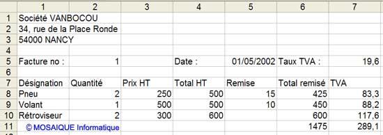 La facture, telle qu'elle a été enregistrée dans les exercices précédents - Excel - MOSAIQUE Informatique - 54 - Nancy - www.mosaiqueinformatique.fr