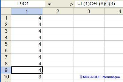 La formule est recopiée par un copier/coller - Excel 2002 - MOSAIQUE Informatique - Cours Excel - 54 - Nancy - www.mosaiqueinformatique.fr