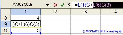Les références à modifier sont sélectionnées dans la formule - Excel - MOSAIQUE Informatique - Cours Excel - 54 - Nancy - www.mosaiqueinformatique.fr