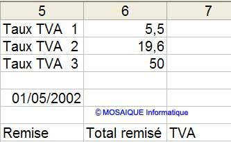Trois taux de TVA sont ajoutés - Excel - MOSAIQUE Informatique - 54 - Nancy - www.mosaiqueinformatique.fr