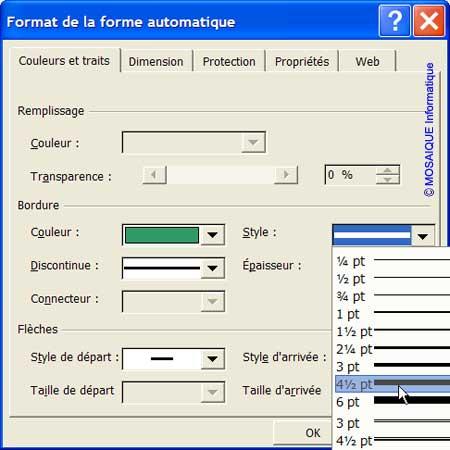 La modification de l'apparence de la ligne verticale - Excel - MOSAIQUE Informatique - Cours Excel - 54 - Nancy - www.mosaiqueinformatique.fr