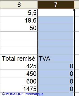 La colonne est sélectionnée - Excel - MOSAIQUE Informatique - 54 - Nancy - www.mosaiqueinformatique.fr
