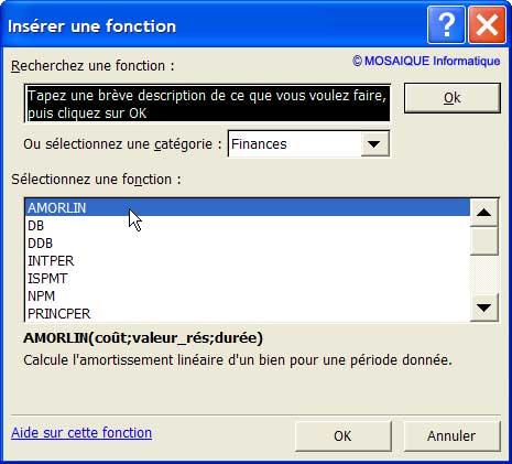 La fonction est choisie dans la liste - Excel - MOSAIQUE Informatique - 54 - Nancy