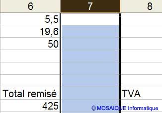 La colonne est insérée - Excel - MOSAIQUE Informatique - 54 - Nancy - www.mosaiqueinformatique.fr