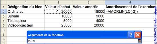 L'écriture de la formule - Excel - MOSAIQUE Informatique - 54 - Nancy - Cours et tutoriels de formation