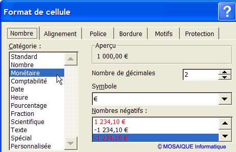 Le format de la cellule a été modifié - Excel - MOSAIQUE Informatique - 54 - Nancy - Cours et tutoriels de formation