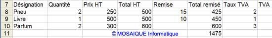 Les taux de TVA sont saisis - Excel - MOSAIQUE Informatique - 54 - Nancy - www.mosaiqueinformatique.fr