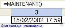 La fonction MAINTENANT() - Excel - MOSAIQUE Informatique - 54 - Nancy - www.mosaiqueinformatique.fr