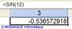 La fonction SIN() - Excel - MOSAIQUE Informatique - 54 - Nancy - www.mosaiqueinformatique.fr