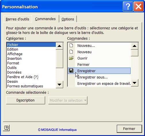 L'icône Enregistrer est glissée dans la nouvelle barre d'outils - Excel - Cours et tutoriels de formation - MOSAIQUE Informatique - 54 - Nancy