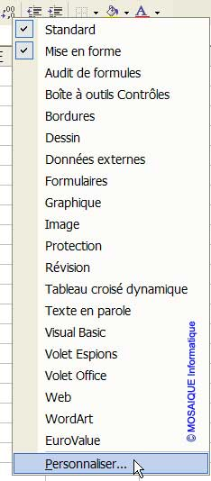 Le menu contextuel - Excel - Cours et tutoriels de formation - MOSAIQUE Informatique - 54 - Nancy