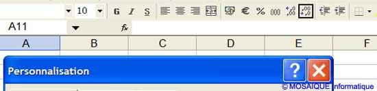 La suppression de l'icône - Excel - Cours et tutoriels de formation - MOSAIQUE Informatique - 54 - Nancy