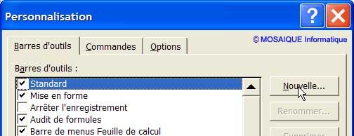La création d'une nouvelle barre d'outils - Excel - Cours et tutoriels de formation - MOSAIQUE Informatique - 54 - Nancy
