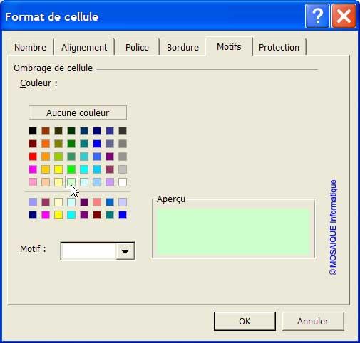 Le choix d'un motif - Excel - MOSAIQUE Informatique - 54 - Nancy - Meurthe et Moselle - Lorraine