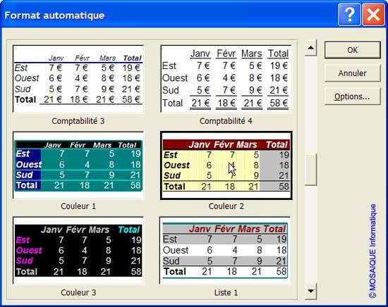 Le choix du modèle de mise en forme automatique - Excel - MOSAIQUE Informatique - 54 - Nancy - Meurthe et Moselle - Lorraine