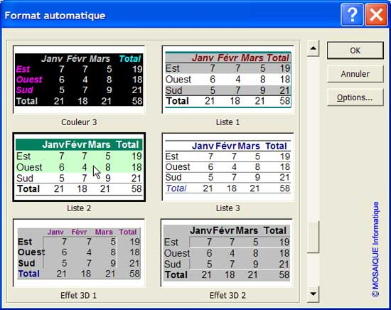 Le choix d'un second modèle de mise en forme automatique - Excel - MOSAIQUE Informatique - 54 - Nancy - Meurthe et Moselle - Lorraine