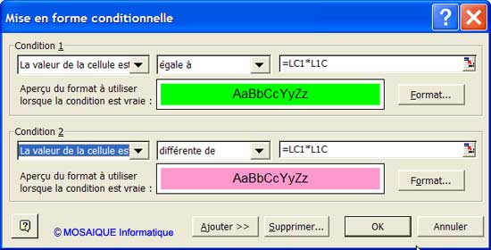 Des références mixtes sont utilisées - Excel - MOSAIQUE Informatique - 54 - Nancy - Meurthe et Moselle - Lorraine