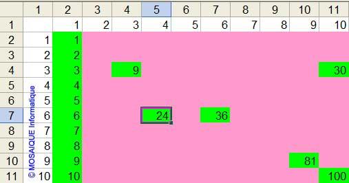 La saisie de quelques valeurs d'essais - Excel - MOSAIQUE Informatique - 54 - Nancy - Meurthe et Moselle - Lorraine