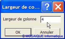 La largeur des colonnes est réduite - Excel - MOSAIQUE Informatique - 54 - Nancy - Meurthe et Moselle - Lorraine
